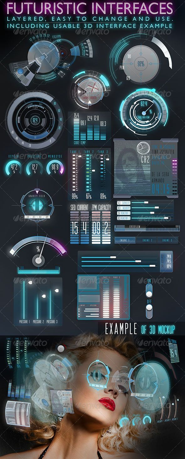 Futuristic Interface (HUD) design template - one of the most downloaded files #ui #web #futuristic