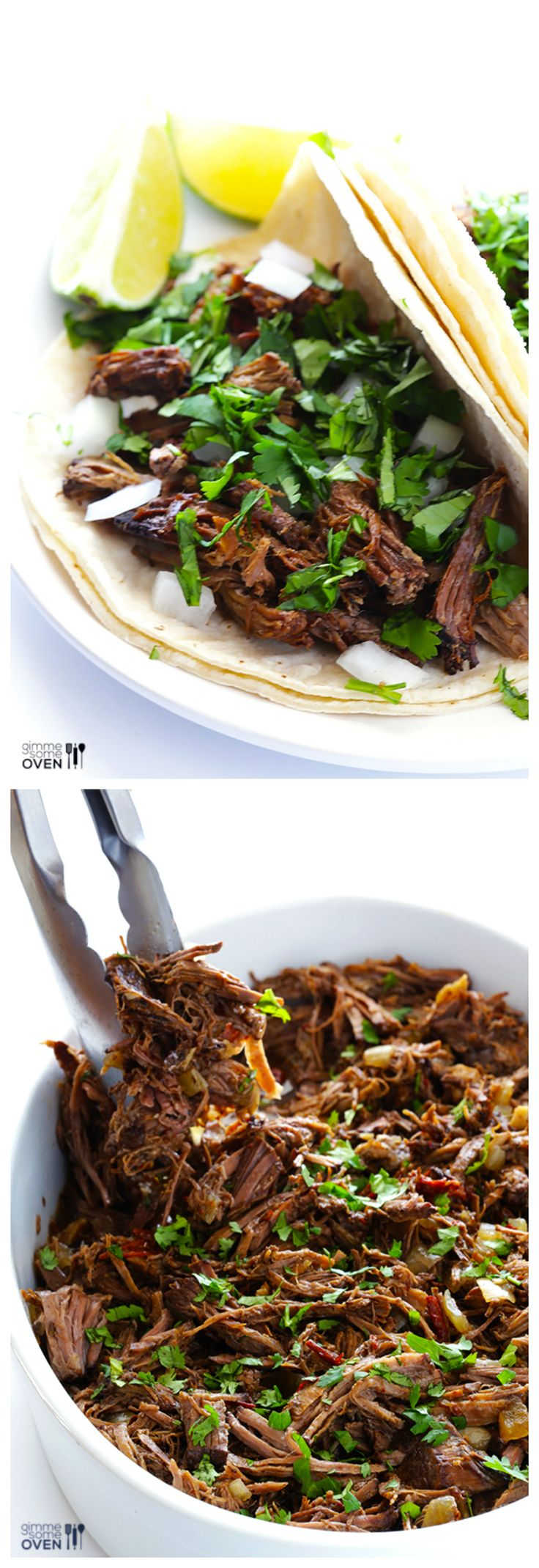 Homemade Barbacoa Beef -- flavorful, tender, so easy to make in the slow cooker, and perfect for tacos, burritos, and more! | gimmesomeoven.com #crockpot #slowcooker