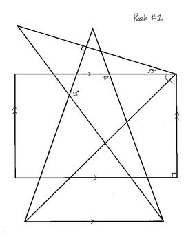 My first two sets of angles puzzles have had many downloads so I wanted to post some new puzzles for those of you who have found them to be helpful.   This particular set contains 5 angle puzzles with 5 complete answer keys. In order to fill in the angle puzzles students must be familiar with the angle relationships formed by two parallel lines and a transversal.