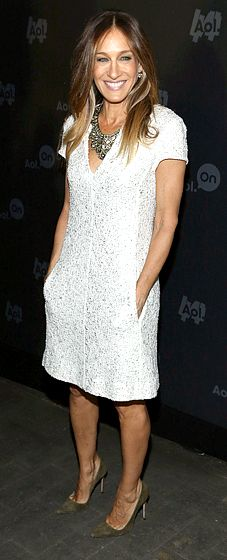 Sarah Jessica Parker: AOL 2013 Digital Content Newfront The actress looked city-chic and spring-ready in a pale gray dress and statement necklace at the NYC event on Apr. 30