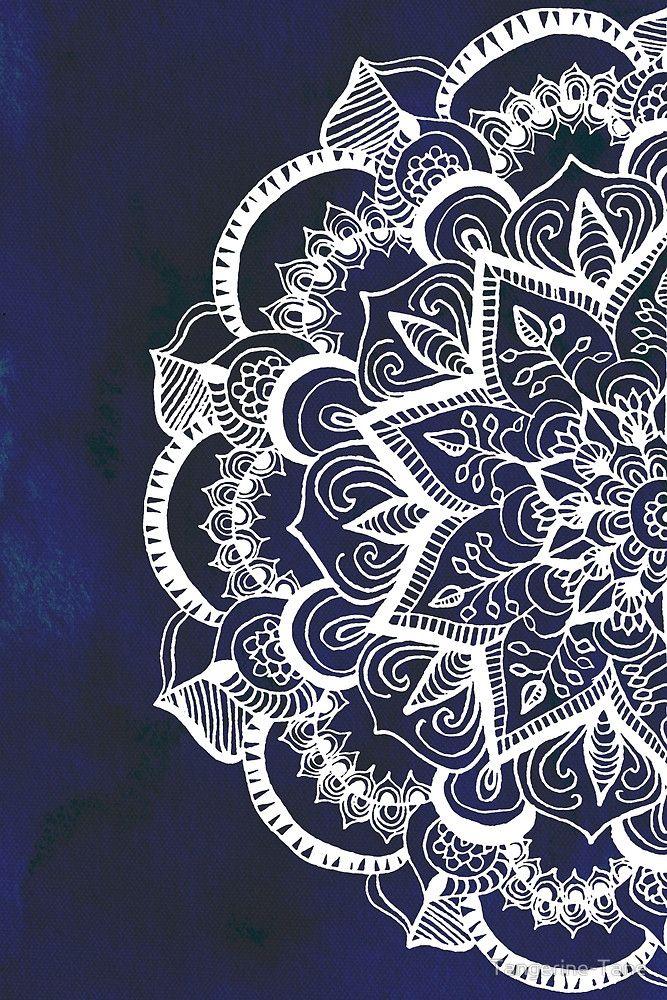 «White Feather Mandala on Navy» de Tangerine-Tane