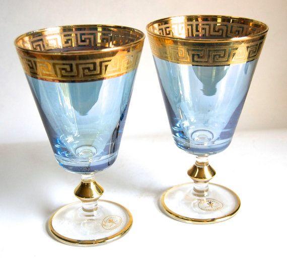 J Preziosi Greek Key Blue Goblets Vintage Gilded Italian Stemware Glassware Home Decor Tableware Wedding Accessories