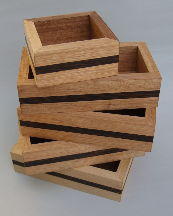 A batch of open topped boxes made by Frank Duyker from scrapes of reclaimed Victorian Ash and Wenge.