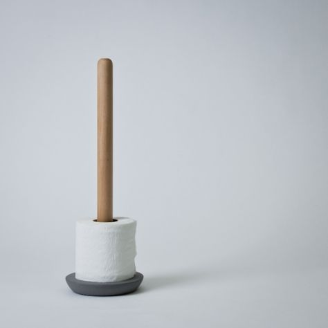 swedish concrete and birch toilet paper holder