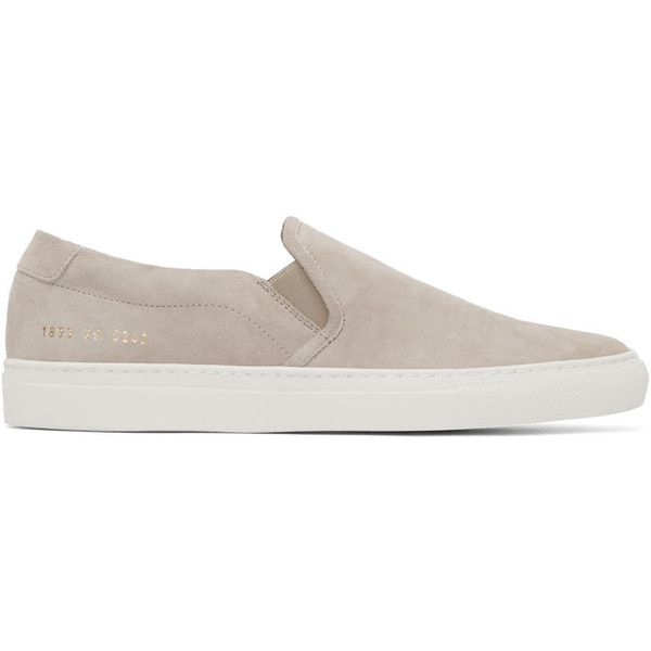 Common Projects Beige Suede Slip-On Sneakers featuring polyvore, men's fashion, men's shoes, men's sneakers, mens suede slip on shoes, mens slipon shoes, mens slip on sneakers, mens suede shoes and mens slip on shoes