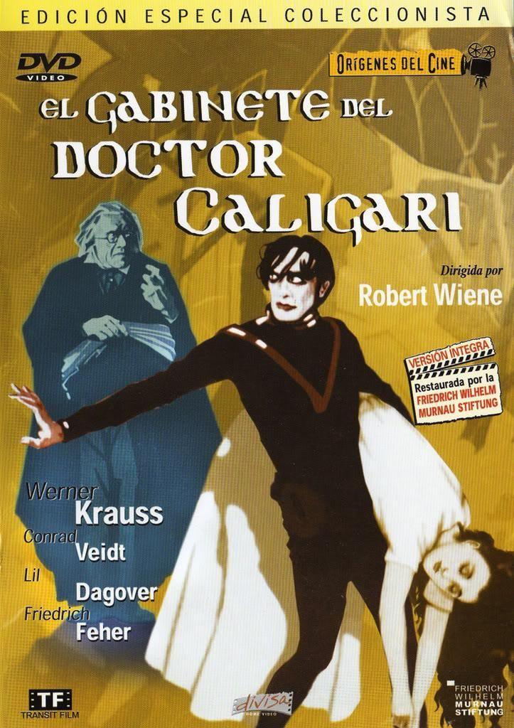 DVD CINE 102 - El gabinete del Dr. Caligari (1920) Alemaña. Dir: Robert Wiene. Expresionismo alemán. Terror. Sinopse: dous amigos visitan unha feira. Nela, un tal Dr. Caligari anuncia a alguén que é capaz de adiviñar o futuro a través do seu sonámbulo, Cesar. Pregúntanlle ata cando vivirá un deles e augúralle unha morte esa mesma noite.