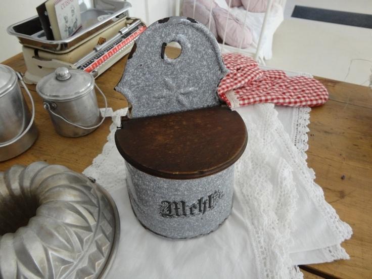Mehl EmailleDose  Vintage von tischdeckdich  Dosen  ~ Geschirr Vintage