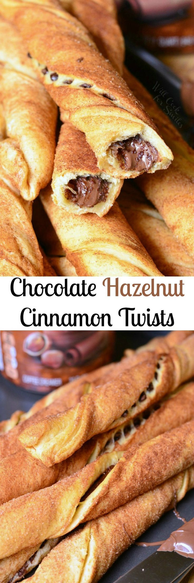 Chocolate Hazelnut Cinnamon Twists. Irresistible crescent dough pastry filled with Nutella and covered in cinnamon sugar.  #breakfast #chocolate