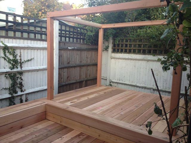 Cedar constructed deck with informal seating and day bed