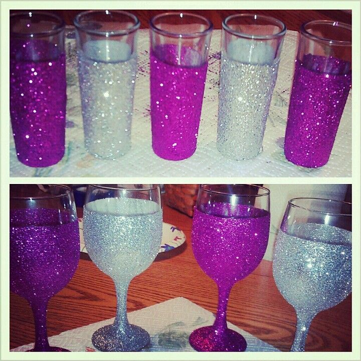 Wine glasses and shot glasses from Walmart. Paint modge podge on, pour on the glitter! Spray with modge podge to seal :)