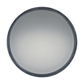 Quoizel Shoreline 26 X 26 Black/White Beveled Round Framed Transitional Wall Mirror Qr2793