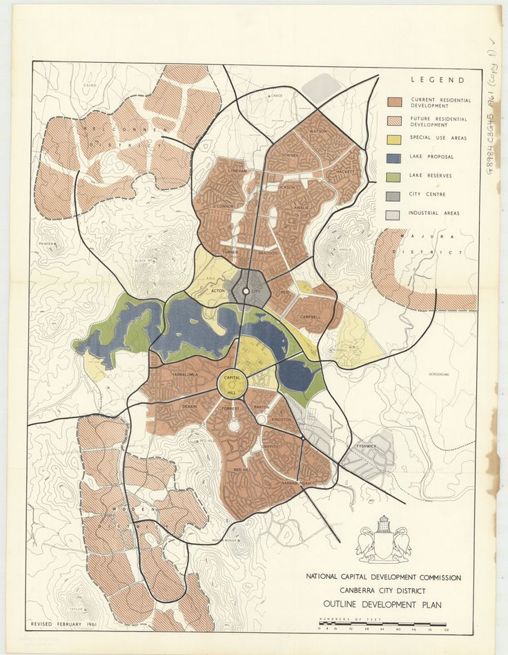 1954 Canberra outline development plan  existing and future areas - new world map to print ks1