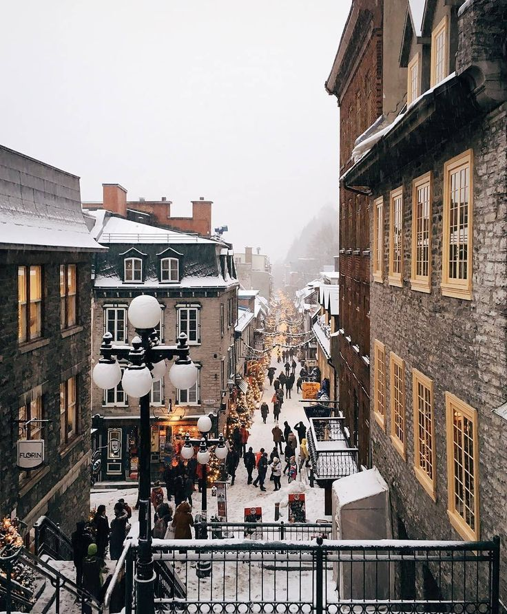 """""""""""Rue du Petit Champlain"""" is one of #Quebec City's most charming streets, especially during the winter holidays! Thanks to @montrealismes for sharing this…"""""""