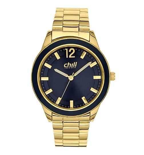 CHILL Damen Uhr mit Gold Metallgehäuse und Metallband Gold Produktbild