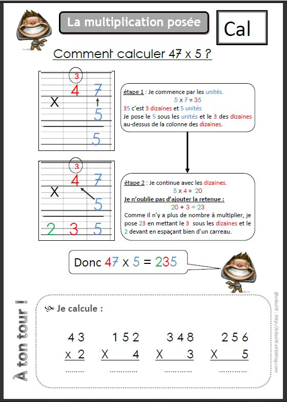 La multiplication pos e math pinterest outils pour for Mathematique ce2 multiplication