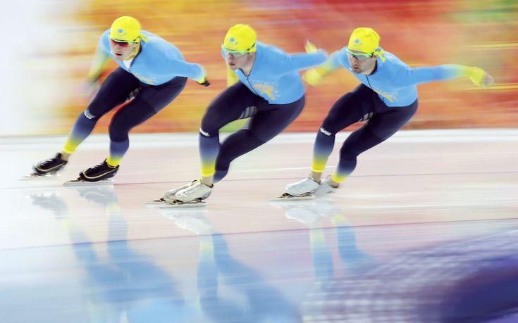 The Kazakhstan men's speed-skating team in training
