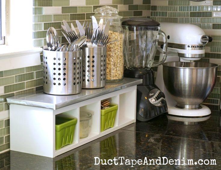 Finished white kitchen shelf makeover | DuctTapeAndDenim.com