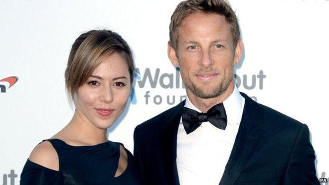 Jenson Button and his wife Jessica Michibata