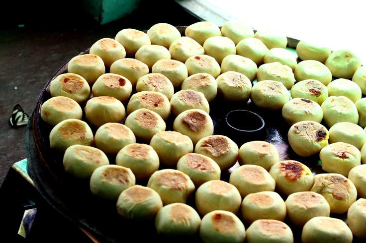 Bakpia pathok, this is an Indonesia sweet rolls, usually stuffed with mung beans.
