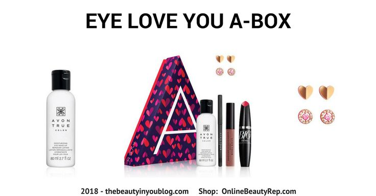 The Eye Love You A BOX - Featuring 4 makeup favorites and an exclusive earring set.Just in time for Valentine's Day and would make a great gift! #avon #abox #beautybox #beautyboxcollection #avonbeautybox #beauty #makeup #valentinesday