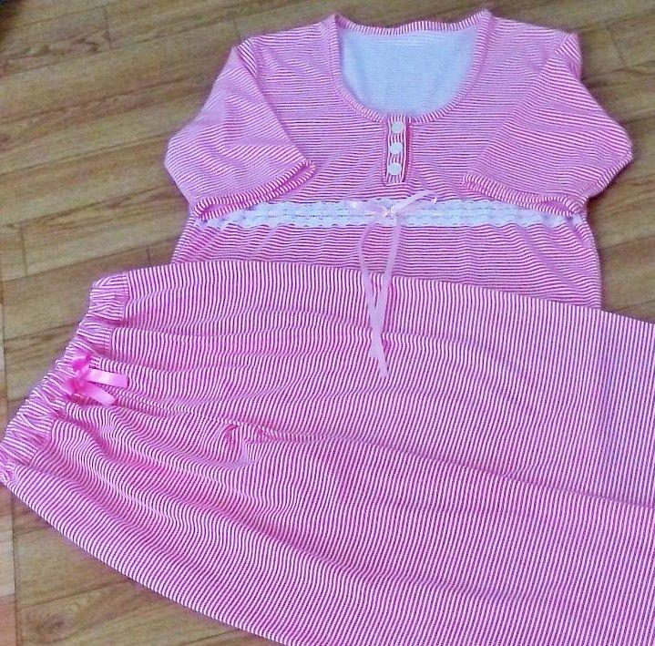 Pijama mujer pantalón largo, blusa manga corta con botones y pasacintas  $45.000