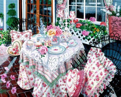 """Tea at Summer Hill""  Susan Rios Keepsakes 8 x 10 - Roses And Teacups"