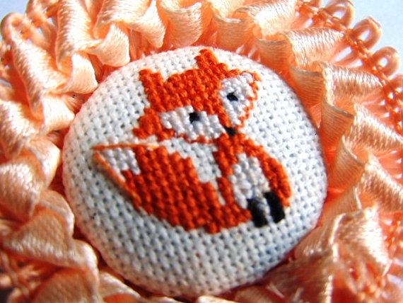 Hand embroidered brooch Young Fox with orange lace. от MaRenaMaRa