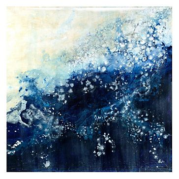 Artfully adorn your walls with a depiction of powerful waves from the sea, vibrantly cast in shades of blues with Sapphire and Pearls.