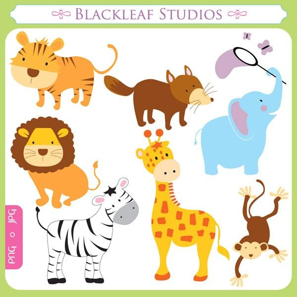 Baby Animals - cute animals, fun animals, giraffe, elephant, fox, tiger, lion, jungle, forest, wild - Personal and Commercial Use Clip Art. $5.00, via Etsy.