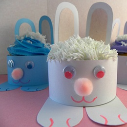 Easter Bunny Cupcake Wrappers Craft - use same idea to make bunny hats for kids