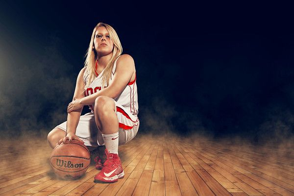 High School Senior Portrait - Basketball Enhancement Session, Girl, Gym, Smoke  Joshua Hanna Photography & Design Cross Lanes, WV