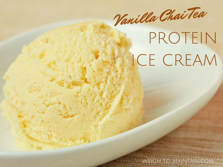 My new favorite protein ice cream recipe! Combine Bolthouse Farms Vanilla Chai Tea with vanilla protein powder for quick and delicious protein ice cream. From Weigh to Maintain.com