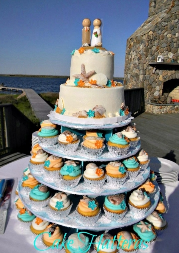 Teal and Orange Beach Wedding Cake / Cupcakes. I like this idea for the cupcakes...maybe groom's cake on the top?