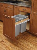 "Rev-A-Shelf - Double Soft-Close Top Mount 1.5"" Face Frame Wood Waste Containers"