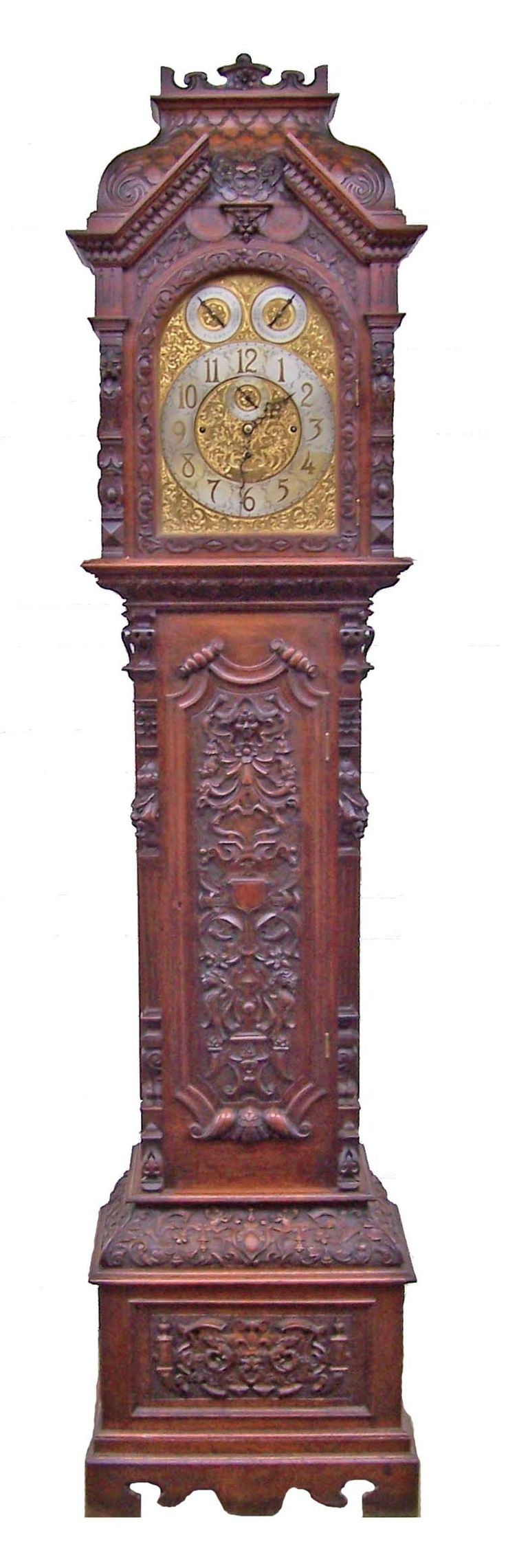 Tube Carved Oak Grandfather Clock