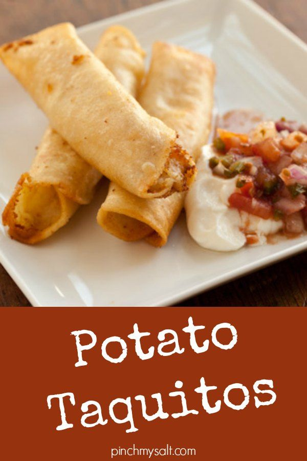 This easy potato taquitos recipe is made with leftover mashed potatoes so they can be made in minutes. The crispy fried taquitos can be made with plain mashed potatoes or you can add a little cheese. Mexican Taquitos de papa are pure comfort food - don't forget the salsa and sour cream! | pinchmysalt.com