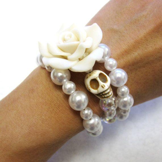 Day Of The Dead Bracelet Sugar Skull Jewelry Wedding Accessory White Rose Skull