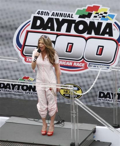 """Fergie sang the national anthem at the Daytona 500. She tried make it a """"My Humps"""" remixed version, but people weren't too into that for some reason."""
