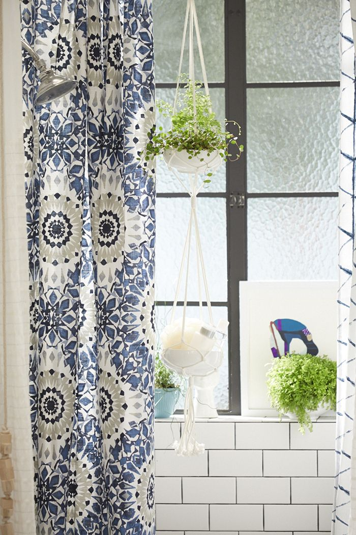 Target_Emily Henderson_Bathroom_Blue White Green Eclectic Bohemian_shower curtains