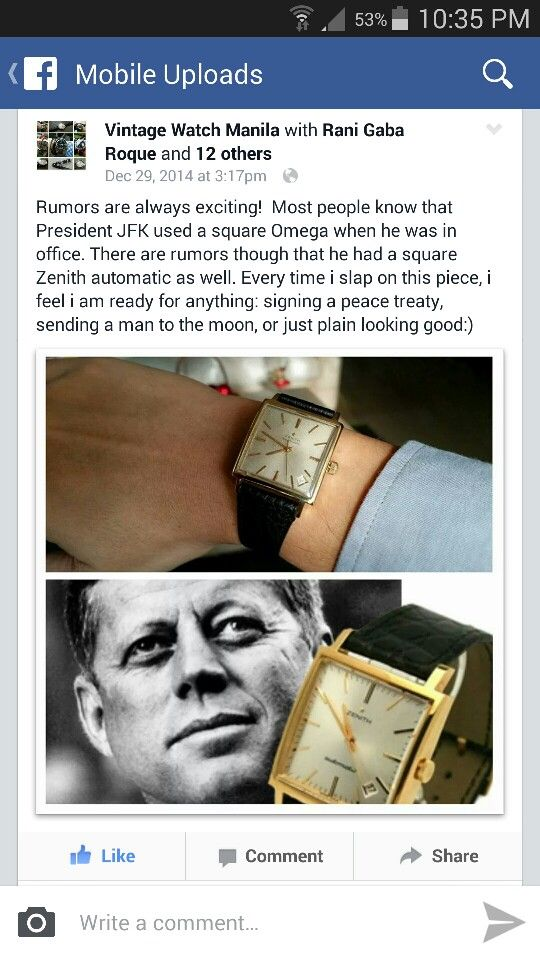 Trivia on US President JFK square Omega and Zenith watch by fb: Vintage Watch Manila
