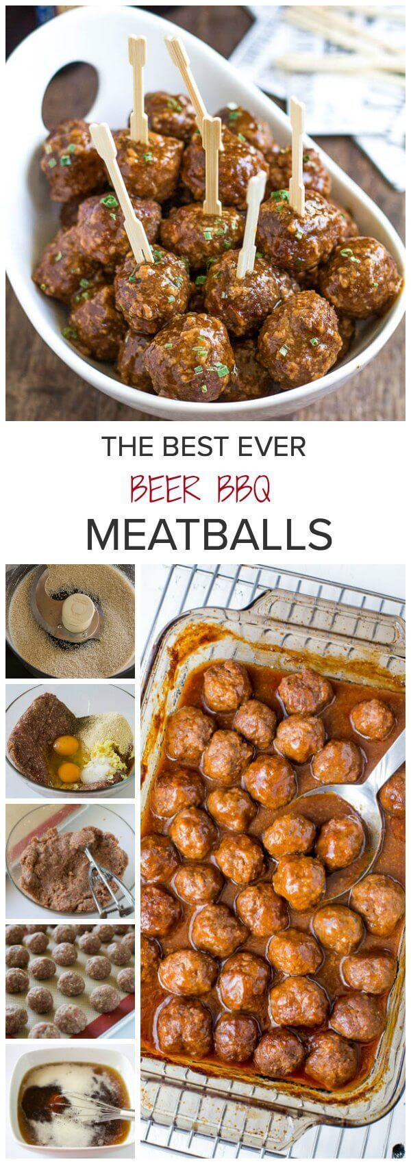 Ditch that grape jelly cocktail meatball recipe. And spoil your guests with beer BBQ meatballs instead! Juicy tender meatballs in smoky, rich and slightly sweet beer bbq sauce. The BEST!