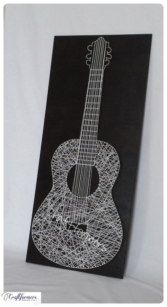 String Art, Music, Guitar, Musical Instrument, Music Gift, Black & White Wooden Plaque, Large String Guitar, Music, Music Fan, Home Decor
