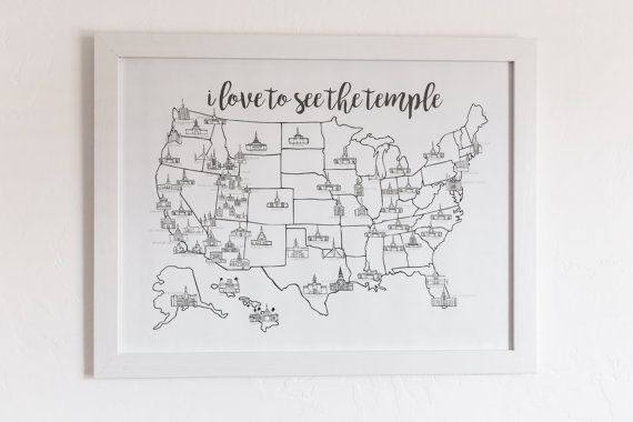 d e t a i l s :  This map is for you to mark what temples you have visited in whatever way you see fit. Watercolored, colored penciled, or leave it blank. However you want! Printed on a 80 lb. poster paper.  s h i p p i n g :  Shipping is FREE! I will do my best to ship your map as soon as possible. Printing will take 1-2 days, then ready to be shipped. I will message you with your tracking number when your order has been shipped. Then you can track your package all the way to your door…