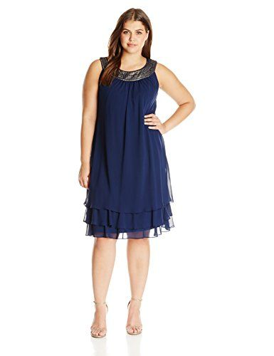 S.L. Fashions Women's Plus Size Party Dress, Navy/Gold, 16W >>> Check out this great image @