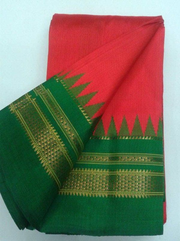 Stunning tomato red Ilkal silk saree with traditional green border