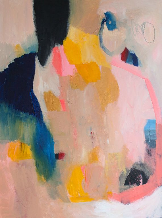 "Large Original Abstract Giclee Print of Painting, Beige Yellow and Blue, Painting ""By Her Loop"""