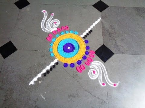 simple & very easy latest rangoli design - K80 - YouTube
