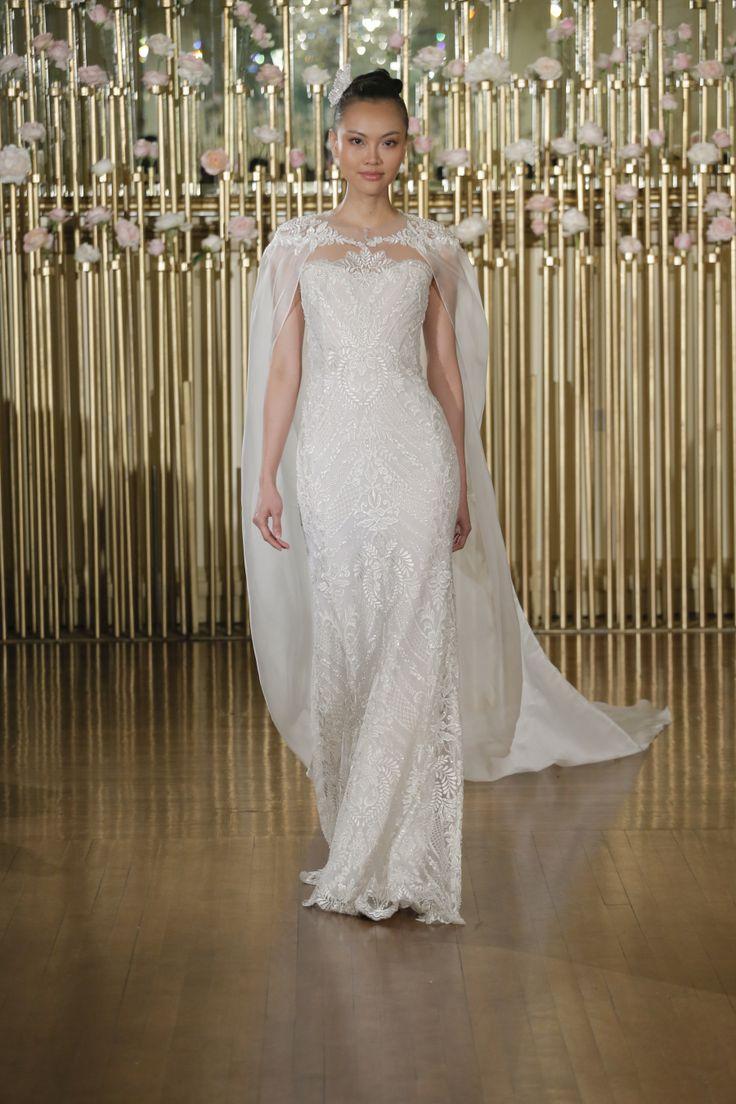Francesca Miranda wedding dress with a chic bridal cape: Photography: Dan Lecca -    Read More on SMP: http://www.stylemepretty.com/2017/04/24/francesca-miranda-spring-2018-celebrates-women-and-femininity/