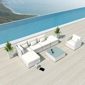 Uduka Outdoor Sectional Patio Furniture White Wicker Sofa Set Porto 7 Off White All Weather Couch $1,299.00 & FREE SHIPPING