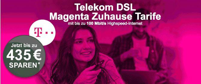 Telekom Magenta Zuhause DSL mit Auszahlung zum DSL Vertrag mit dem Magenta Zuhause M oder dem Magenta Zuhause L auch beide Telekom DSL Tarife mit EntertainTV oder EntertainTV Plus und Nutze den MagentaEINS Paket Vorteil mit 10,00€ Rechnungsrabatt im Monat.